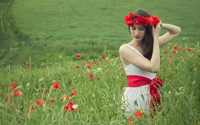 Picture summer, grass, girl, flowers, red, Maki, meadow, belt, brown hair, wreath, sundress, long-haired, poppy field