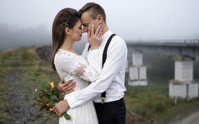 Picture girl, happiness, bridge, bouquet, dress, hugs, pair, guy, lovers