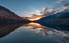 Picture forest, the sky, the sun, clouds, light, sunset, mountains, lake, reflection, hills, blue, the slopes, …