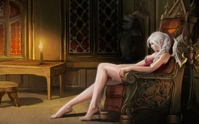 Picture Girl, Candle, Room, Elf, Fantasy, Elf, Fiction, The throne, Concept Art, Axe, Game Art, ROX, …