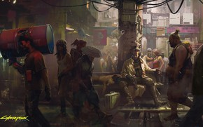 Picture The game, Street, People, Art, Cyborg, CD Projekt RED, Cyberpunk 2077, Cyberpunk, Cyberpunk, Cyberpunk 2077, …