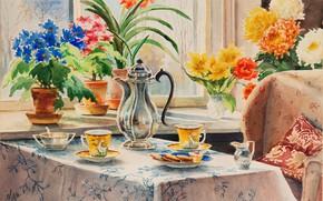 Picture table, chair, kettle, cookies, window, pillow, mugs, treat, Watercolor, the comfort of home, Olga Kulikovskaya-Romanova, …
