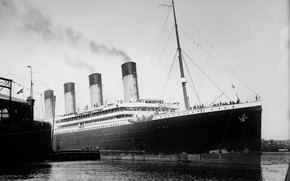 Picture Liner, Old photo, The ship, Olympic, Passenger liner, Olympic, Black and white, White Star Line, ...