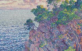 Picture landscape, rock, picture, 1905, Theo van Rysselberghe, Theo van Reysselberge, Pointe du Rossignol (Cape layet)