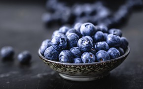 Picture berries, the dark background, blueberries, bowl, a lot