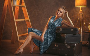Picture girl, pose, polka dot, dress, lantern, floor lamp, suitcases, ladder, Ivan Losev