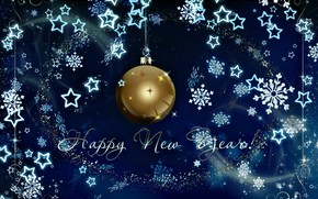 Picture winter, snowflakes, background, ball, New year, New Year