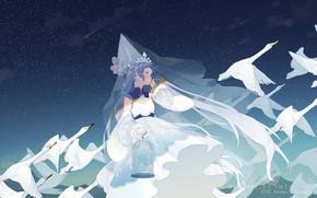 Picture girl, Hatsune Miku, swans, Princess, Vocaloid, Vocaloid, Hatsune Miku