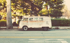Picture House, Car, Street, Wallpaper, Old, Trees, Bus
