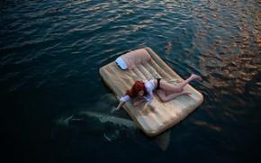 Wallpaper sea, girl, fish