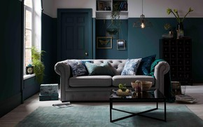 Picture design, style, interior, living room, Ireland, glamour style, feel for teal
