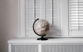 Picture the world, map, window, sill, globe