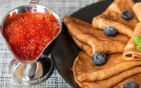 Picture berries, pancakes, caviar, cakes, carnival, pancakes