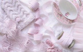Picture pink, tape, Cup, jacket, lace