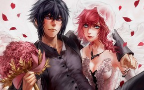 Picture girl, flowers, bouquet, art, pair, guy, the bride, Final fantasy, wedding
