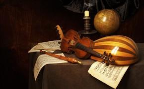 Picture notes, violin, candle, still life, flute, globe, mandolin