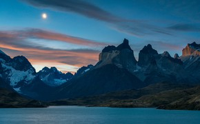 Picture the sky, clouds, mountains, night, nature, the moon, tops, the evening, twilight, pond, Chile, Andes, …