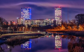 Picture the sky, water, trees, the city, lights, reflection, building, home, the evening, lights, river, Romania, …