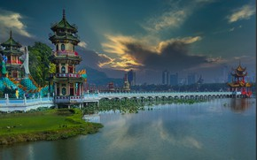 Picture landscape, bridge, the city, lake, building, home, China, Taiwan, pagoda, Kaohsiung, Kaohsiung