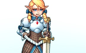 Picture girl, sweetheart, elf, sword, armor, blonde, knight, paladin