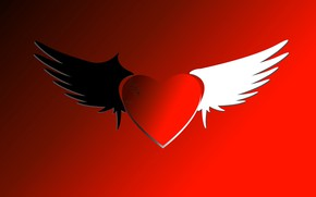 Picture love, heart, graphics, wings, crack, Valentine's Day