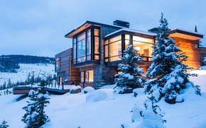 Picture winter, comfort, house, style, stylish, the evening, house, cottage, winter, snow, tree, evening, cozy