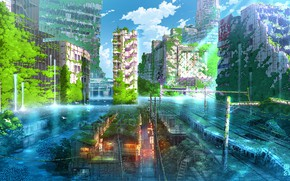 Picture Japan, fantasy, Tokyo, ruins, flooding