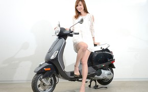Picture look, smile, Girls, Asian, beautiful girl, posing, scooter, Vespa LT125ie