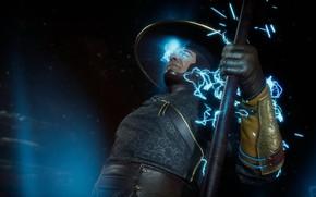 Picture zipper, sparks, staff, lightning, Raiden, staff, god of thunder, Mortal Kombat 11, MK 11, Mortal …