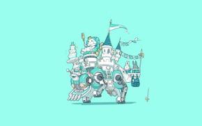 Picture Art, Machine, Castle, Illustration, Minimalism, Characters, King, Bunny, Bunnies, Ren Wei Pan, Happy birthday to …
