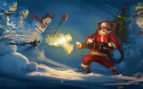 Picture snowmen, dagger, axe, Santa Claus, machine gun, slaughter, Анатолий Мущенко
