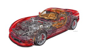 Picture Dodge, Viper, cutaway, engineering