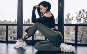Picture sexy, pose, model, portrait, makeup, figure, brunette, hairstyle, topic, legs, sitting, sneakers, window, leggings, he …