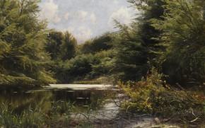 Picture Danish painter, 1907, Peter Merk Of Menstad, Peder Mørk Mønsted, Danish realist painter, oil on …