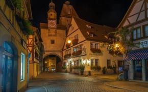 Picture street, building, home, gate, Germany, Bayern, night city, bridge, Germany, Bavaria, Rothenburg, Rothenburg