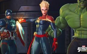 Picture captain america, hulk, captain marvel, Marvel Ultimate Alliance 3, The Black Order