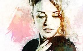 Wallpaper girl, smile, watercolor