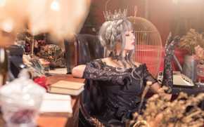 Picture girl, light, pose, style, table, room, Gothic, furniture, portrait, interior, blur, cell, crown, hands, dress, …