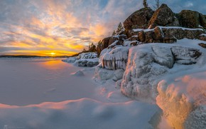 Picture winter, the sky, snow, sunset, river, frost, Ladoga, Fedor Lashkov