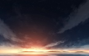 Picture sea, the sky, stars, sunset
