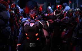 Picture girl, rendering, soldiers, hacker, Overwatch, sombra, Olivia Colomar