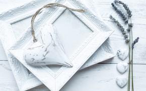 Picture white, heart, frame, lavender