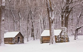 Picture winter, snow, hut, USA, PA, National historical Park valley forge