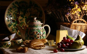 Picture the dark background, food, bouquet, cheese, kettle, grapes, the tea party, Cup, cake, still life, …