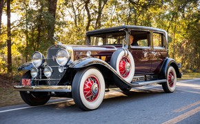 Picture Cadillac, Road, Wheel, Spokes, Classic, Chrome, Classic car, 1930, Tires, Cadillac V16 452 Club Sedan