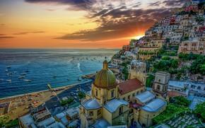 Picture sea, sunset, home, Italy, Positano