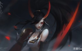 Picture characters, horns, grey background, red eyes, demoness, bangs, youkai, long black hair, by Exia Xiaotong