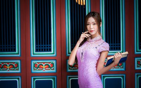 Picture girl, pose, dress, book, Asian