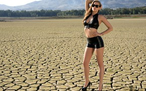 Picture forest, black, cleavage, sky, hot girl, trees, nature, outside, countryside, exotic, posing, high heels, sunglasses, …