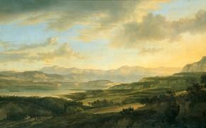 Picture landscape, oil, picture, canvas, 1666, Lake Zurich, Yan Gokart, Jan Hackaert